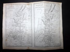 Goldsmith & Hall C1860 Antique Map. Canaan & Palestine. Holy Land